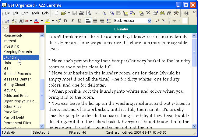Organizing tips - Azz Cardfile